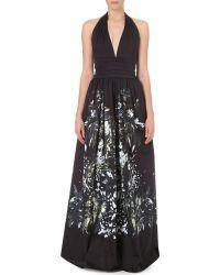 Roberto Cavalli Halter Neck Floral Stretch Cotton Gown - Lyst