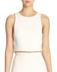 Tibi Mika Quilted Cropped Top white - Lyst