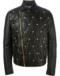 Versus  Embellished Quilted Leather Jacket - Lyst