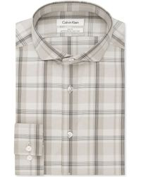Calvin Klein Steel Non-iron Slim-fit Taupe Check Performance Dress Shirt - Lyst