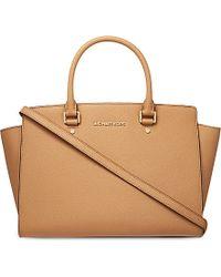 MICHAEL Michael Kors Selma Large Saffiano Leather Satchel Bag - Lyst