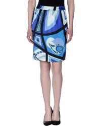 Emilio Pucci Knee Length Skirt blue - Lyst
