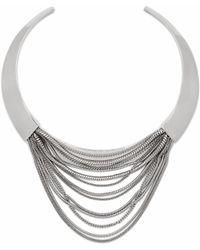 Diane von Furstenberg Silver Multi Chain Sculptural Collar Necklace - Lyst