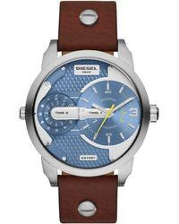 Diesel Mens Mini Daddy Dark Brown Leather Strap Watch 46mm - Lyst