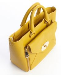 Mulberry Mustard Leather 'Willow' Front Zip Pocket Convertible Top Handle Bag - Lyst