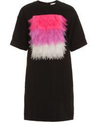 Victoria, Victoria Beckham Frayed Silk Tex Patch Tunic - Lyst