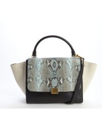 Celine Turquoise and Black Python Embossed Detail Leather Trapeze Top Handle Crossbody Bag - Lyst