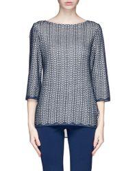St. John Pointelle Knit Sweater - Lyst