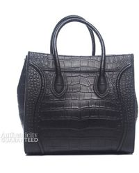 Celine Preowned Black Croc Embossed Leather Small Phantom Tote Bag - Lyst