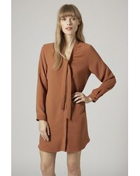 Topshop Pussybow Shirt Dress - Lyst