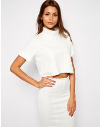 TFNC Textured Crop Top With High Neck white - Lyst