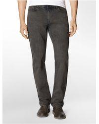 Calvin Klein Jeans Slim Straight Leg Graphite Indigo Wash Jeans gray - Lyst
