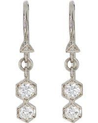 Cathy Waterman Double-Hexagon Drop Earrings - Lyst