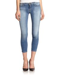 J Brand Mid-Rise Cropped Skinny Jeans - Lyst