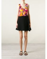 Blumarine Gathered Front Floral Print Top - Lyst