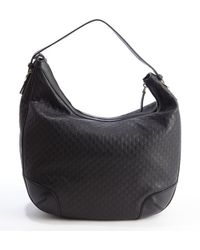 Gucci Black Gg Leather Hobo Bag - Lyst