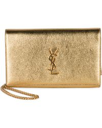 Monogram Saint Laurent Chain Wallet In Gold Metallic Grained Leather