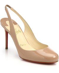 Christian Louboutin Fifi Patent Leather Slingback Pumps beige - Lyst