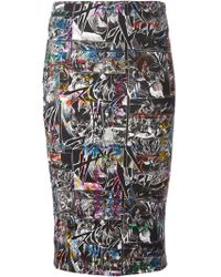McQ by Alexander McQueen Manga Printed Pencil Skirt - Lyst