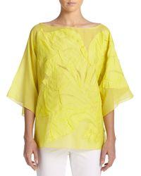 Josie Natori Silk & Cotton Voile Kimono Top - Lyst