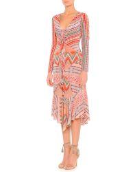 Etro Long-Sleeve Ribbon Printed Silk Dress - Lyst