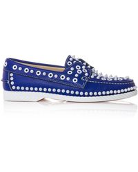 Christian Louboutin Yacht Spiked Leather Boat Shoes - Lyst