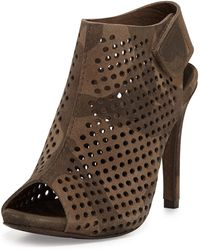 Pedro Garcia Sofia Perforated Suede Bootie Olive Camo - Lyst