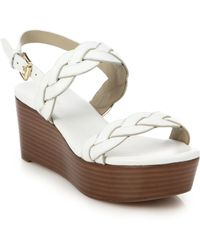 Michael Kors Gabrielle Leather Stacked Wedge Sandals white - Lyst