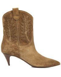 Saint Laurent Cat Western Suede Ankle Boots - Lyst