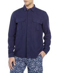 Vilebrequin Navy Two-Pocket Silk Sport Shirt - Lyst