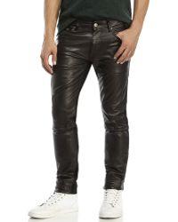 Avelon - Black Popshop Faux Leather Front Jeans - Lyst