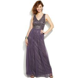 Patra Stud-Embellished Pleated Chiffon Gown - Lyst