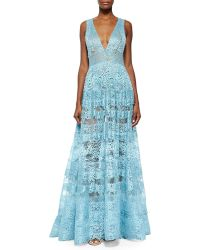 Elie Saab Sheer Backless Lace Gown - Lyst