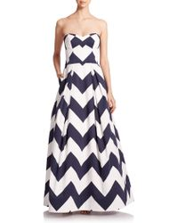 Milly Ava Chevron-Print Strapless Gown - Lyst