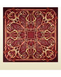 Gucci Equestrian Print Silk Twill Scarf - Lyst