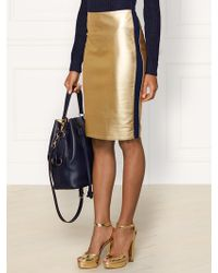 Ralph Lauren Collection Metallic Leather Eva Skirt - Lyst