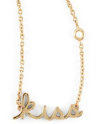 Shy By Sydney Evan - Kiss Word Diamond-Detail Gold-Plate Necklace - Lyst