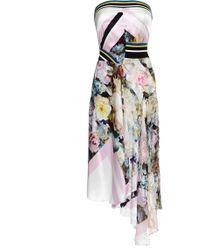 Preen Printed Silk Satin Lupita Dress in Painted Flower - Lyst