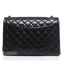 Chanel Pre-Owned Black Lambskin Maxi Single Flap Bag black - Lyst