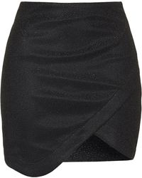 Topshop Womens Tinsel Wrap Mini Skirt  Black - Lyst