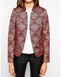 Helene Berman Notch Collar Edge To Edge Jacket in Paisley Print - Lyst
