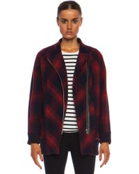 Band of Outsiders Plaid Wool Cacoon Coat - Lyst