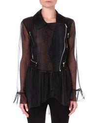 Christopher Kane Pythonprint Silk Biker Jacket Grey - Lyst