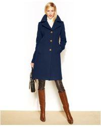 Anne Klein Wool-Cashmere-Blend Notched-Collar Walker Coat - Lyst