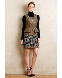 Anna Sui | Petaled Suede Peplum Dress | Lyst