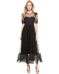 Notte By Marchesa Tea Length Dress with Tulle Skirt  Black - Lyst