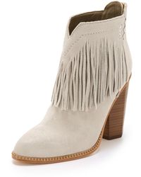 Cynthia Vincent - Native Suede Fringe Booties - Winter White - Lyst