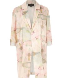 River Island Pink Print Crepe Relaxed Duster Jacket - Lyst