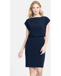Adrianna Papell | Pleated Jersey Blouson Dress | Lyst