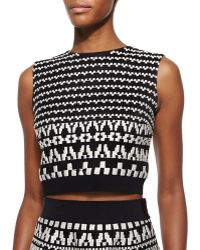 DKNY Geometric-Pattern Sleeveless Crop Top - Lyst